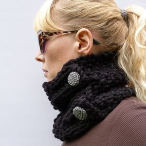 Handknitted Darks Chunky Cowl Scarf - hats, scarves & gloves