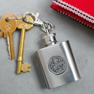 Sixpence Flask Keyring. All Dates Inc: 50th 60th 70th
