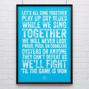 Coventry City 'Sing Together' Football Song Print