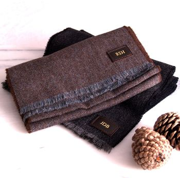 Brown and green and charcoal grey scarves