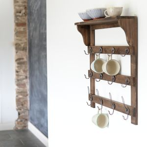 Wooden Wall Shelf With Hooks - laundry room