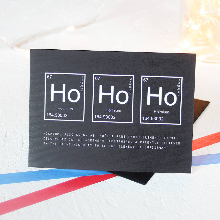 christmas periodic table ho ho ho card packs by newton and the apple ...