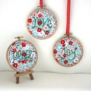 Love, Joy, Peace. Hand Embroidered, Christmas Ornaments
