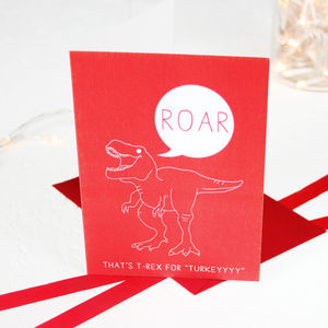 Christmas Hungry T Rex Dinosaur Card Pack - cards & wrap