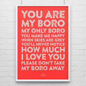 Middlesbrough 'My Only Boro' Football Song Print - posters & prints