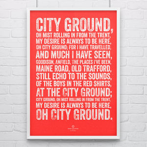 Nottingham Forest 'City Ground' Football Song Print - posters & prints