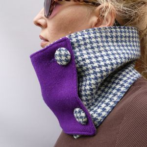 Harris Tweed Colour Block Neckwarmer - hats, scarves & gloves