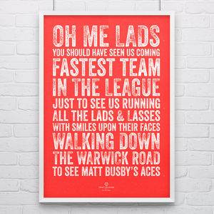 Manchester Utd 'Busby's Aces' Football Song Print