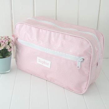 Personalised Gingham Wash Bag
