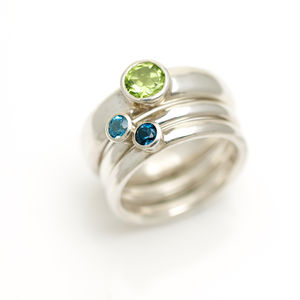 Silver Stacking Rings With Semi Precious Stones