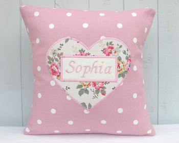 Personalised Cushion With Sprig Print Heart