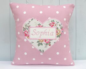 Personalised Cushion With Sprig Print Heart - children's cushions