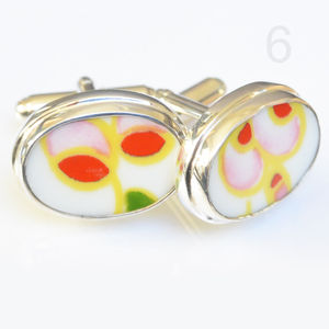 Clarice Cliff Upcycled Sterling Silver Cufflinks Oval - cufflinks