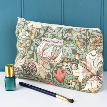 Make Up Bag William Morris Green Lily