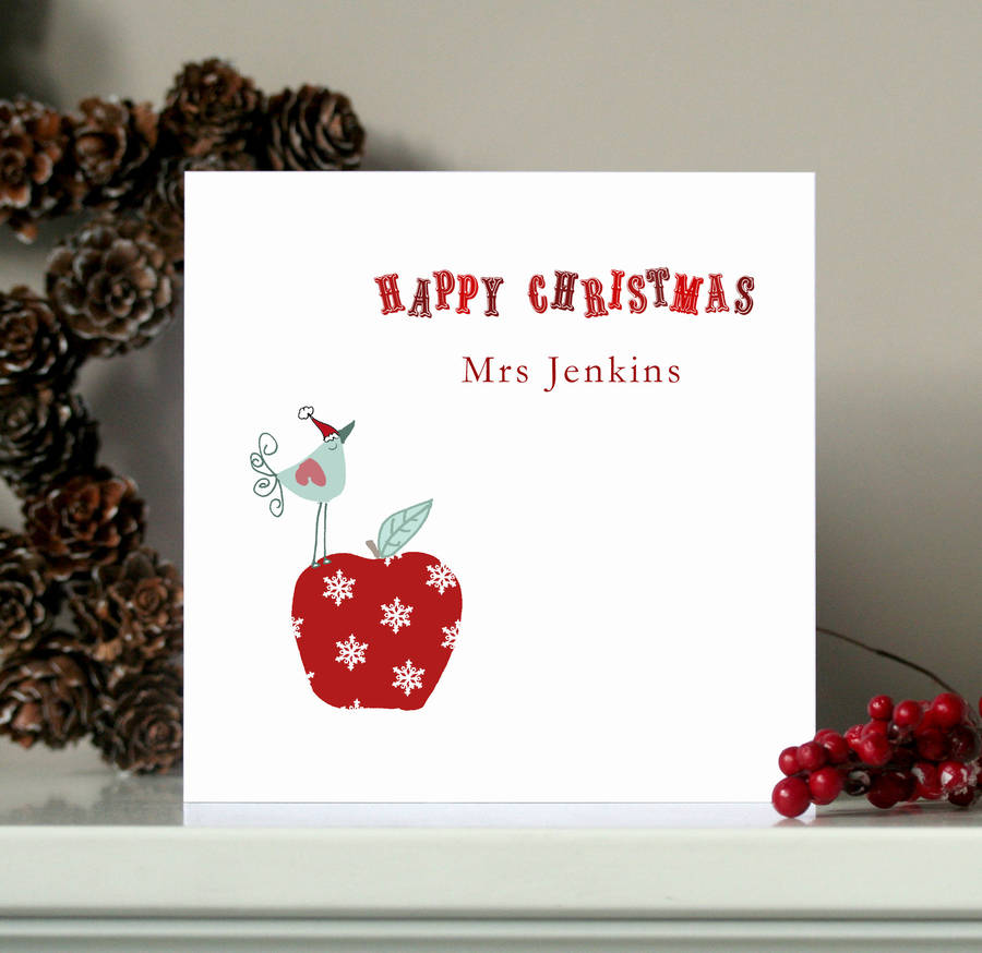 Personalised Teacher Christmas Card By Molly Moo Designs