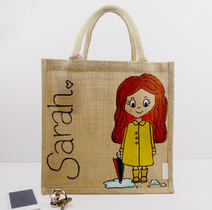 Hand Painted Personalised Rainy Charm Street Cuties Bag - totes