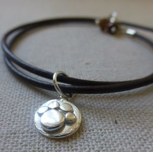 Silver Paw Print Leather Charm Bracelet