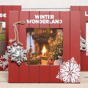 Christmas Red Wooden Photo Frame - picture frames