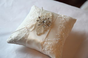 Beaded Lace Wedding Ring Pillow - wedding ring pillows
