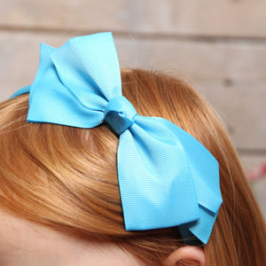 Girls Bright Bows Hairbands, Six Colours