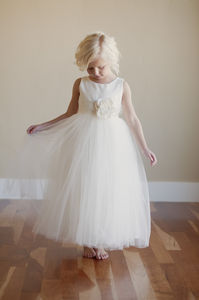 White Or Ivory Silk Flower Girl Bridesmaid Dress - dresses