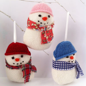 Knitted Snowman Decoration - christmas decorations