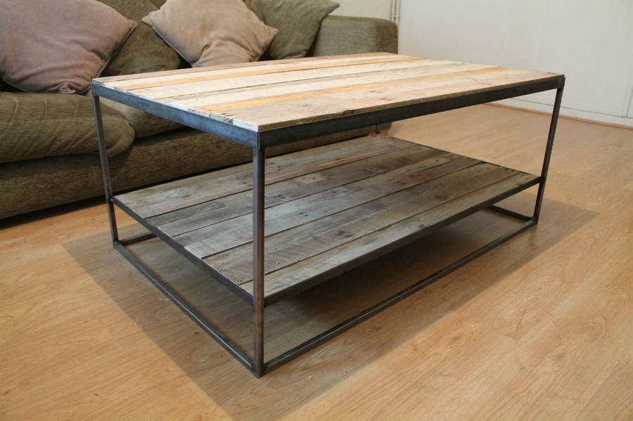 Large Steel And Wood Coffee Table With Shelf By Gas Air Studios
