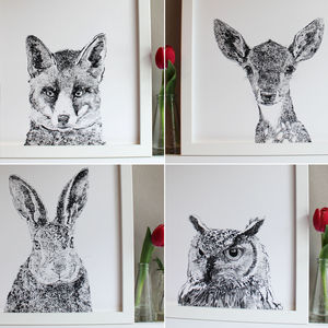 A Set Of Four Woodland Animal Portrait Prints - pictures & prints for children