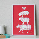 Butcher's Kitchen Print Crimson Red