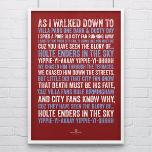 Aston Villa 'Holte Enders' Football Song Print - posters & prints