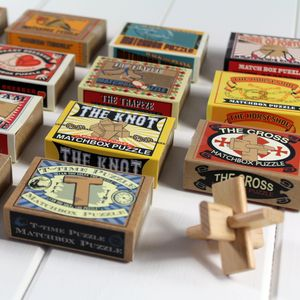 Matchbox Puzzles. Little Wood And Metal Brain Teasers - wedding favours