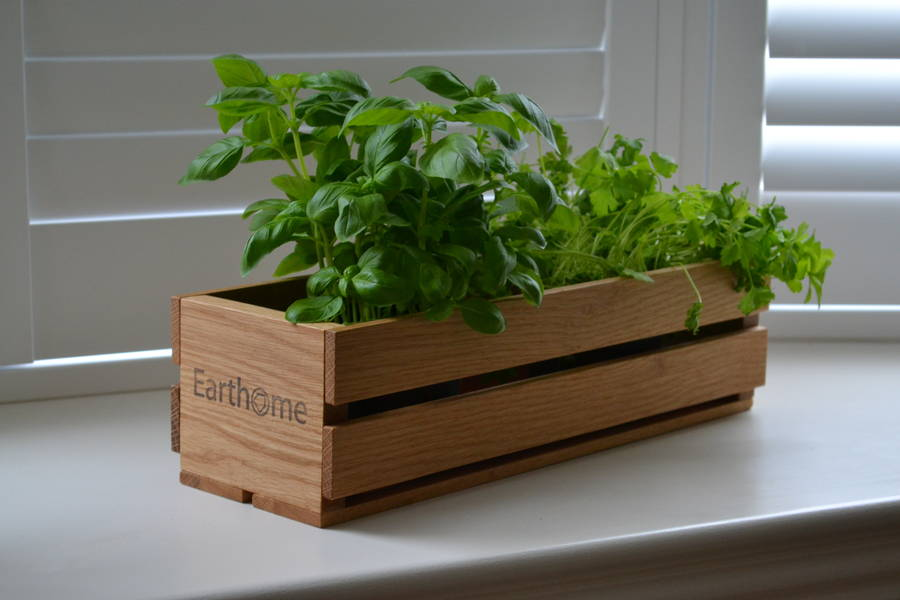 'Home Grown' Oak Planter And Crate For Herbs