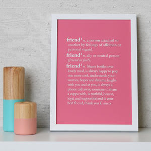 Personalised 'Friend' Dictionary Print - palentine's gifts