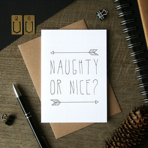 Naughty Or Nice Christmas Card - christmas card packs