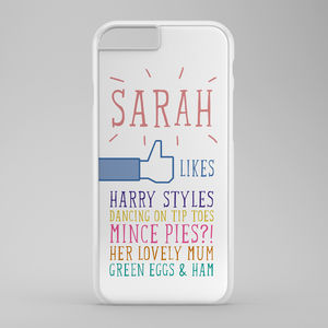 Personalised 'Likes' iPhone Case - tech accessories for her