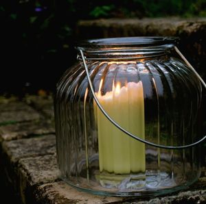 Large Ridged Glass Lantern - outdoor lighting & candles