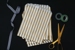 Gold And White Stripe Paper Bags