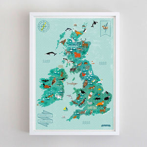 Wildlife Map Of The British Isles - posters & prints