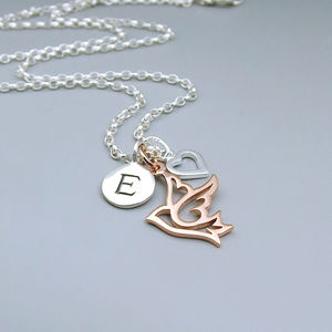 Silver And Rose Gold Dove Initial Necklace