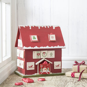 Red Nordic Advent Calendar House - view all decorations