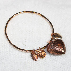 Antique Hammered Heart Bangle