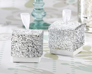 Silver Glitter Favour Box - favour bags, bottles & boxes