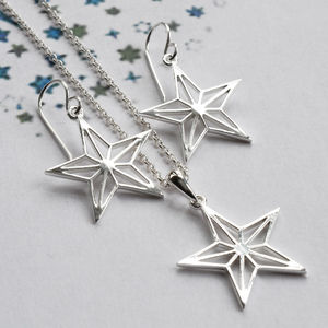 Silver Geometric Star Jewellery Set - christmas jewellery