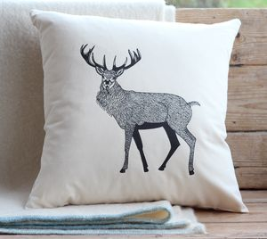 Red Stag Cushion Cover With Inner Option - patterned cushions