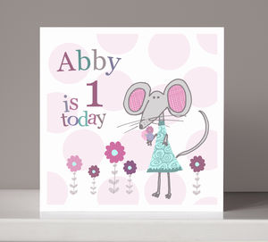 Personalised Mouse Girl's Birthday Card
