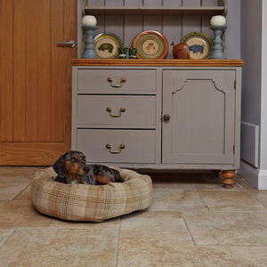 Sand Tweed Donut Dog Bed With Removable Cushion