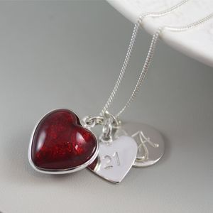 Silver Necklace With Murano Glass Heart And Initial