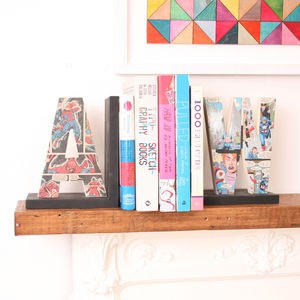 Personalised Comic Letter Book End - bookends