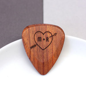 Personalised Heart And Arrow Plectrum - 5th anniversary: wood
