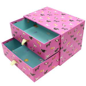 Pink Horses Two Drawer Storage Box